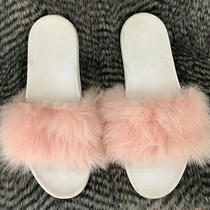 Ugg Australia Women's Royale Genuine Fur Slide Sandals Slippers Pink Size 9.5 Photo