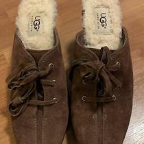 Ugg Australia Womens Suede Clog Mules Slip on High Heel Shoes Size 7 Photo