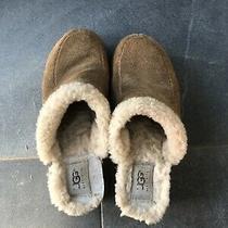 Ugg Australia Women's Sz7 Shearling Wood  Clogs Mules Tan Suede Shoes Photo