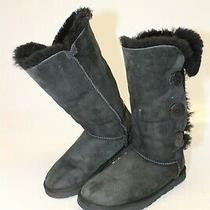 Ugg Australia Womens 7 38 Bailey Button Triplet Black Sheepskin Comfort Boots Photo