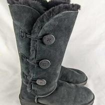 Ugg Australia Womens Bailey Button Triplet Ii Boots Black Knee High 10 Eu 41 New Photo