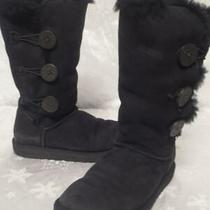 Ugg Australia Womens Black 3 Bailey Button Tall Shearling Boots Shoes 6 1873 Photo