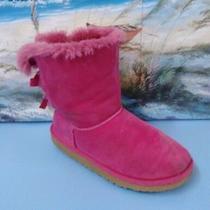 Ugg Australia Womens Hot Pink Double Bailey Bow Suede Boot 3280y Sheepskin Sz 6 Photo