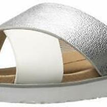 Ugg Australia Womens Kari Leather Open Toe Casual Slide Silver Size 5.5 Y6ac Photo