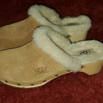 Ugg Australia Womens Mules Fawn Leather Clogs Slip on Casual Comfort Fur Size 7 Photo