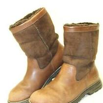 Ugg Australia Womens Size 10 41 Brooks Leather Shearling Mid Pull on Boots 5381 Photo