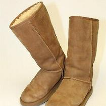 Ugg Australia Womens Size 5 36 Classic Tall Suede Shearling Pull on Boots 5815 Photo