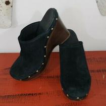 Ugg Australia Womens Size 8 Black Suede Clogs Slip on High Heel Photo