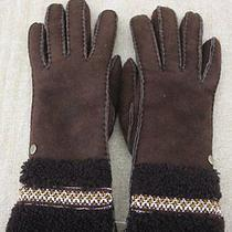 Ugg Australia Womens Stout Tasman Brown Suede Shearling Gloves Small Nwt 145 Photo