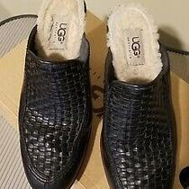 Ugg Australia Womens Sz 6.5 Black Woven Leather Mule Clog Shoes Photo