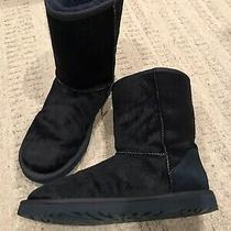 Ugg Australia Womens Sz 8 Calf Hair Midnight Blue Sherpa Lined Boots Unique Rare Photo
