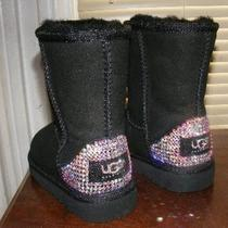 Ugg Auth Black Classic Boots Embellished W Swarovski Crystals Toddler 8 New 249 Photo