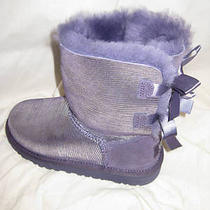 Ugg Bailey Bow Holiday Purple Velvet New Girls Size 13 Photo