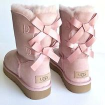 Ugg Bailey Bow Ii Pink Crystal Women's Suede Sheepskin Boots Us Size 7 Photo