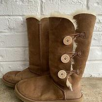 Ugg Bailey Brown Button Boots 3 Button Chestnut Womans Size 8 Authentic Photo