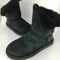Ugg Bailey Button Ii Black Suede Boot Womens Sz 10 170 Fur Short One Button Photo