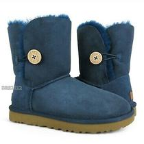 Ugg Bailey Button Ii Navy Blue Suede Fur Boots Womens Size 8 Nib Photo