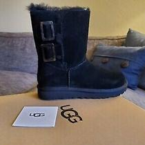 Ugg Bailey Fashion Buckle Black Suede Sheepskin Women's Boots Us Size 7 Photo