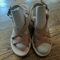 Ugg Beige Tan 1002683 Platform Wedges Leather/suede Sandals Women Size 8  Photo