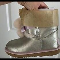 Ugg Big Girl Size 5 Gita Metallic Gold Boot New in Box Authentic Photo