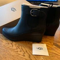 Ugg Black Arleta Waterproof Leather Ankle Wedge Boot. Size 12 Photo