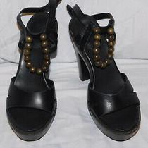 Ugg Black Leather Ankle Strap Platform Wood Heels Size 7 Photo