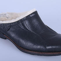 Ugg Black Leather Sheepskin Insulated Casual Comfortable Clogs Shoes Wos 8 M Photo