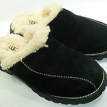 Ugg Black Leather & Sheepskin Women's Slipper Shoes Size 5 Euc Photo