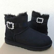 Ugg Black Mini Side Brooch Bling Suede/ Sheepskin Boots Women Us 8/ Eur 39 Nib Photo