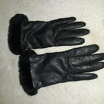 Ugg Black Sherling Leather Womens Gloves Sheepskin W Cashmere Size Small Photo