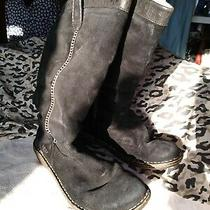 Ugg - Black Suede Leather Boots - Size 7 / 38 - Tall - Calf  Photo