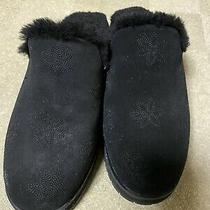 Ugg Black Suede Slip on Fur Lined Slippers Womens Size 9 Mules Photo