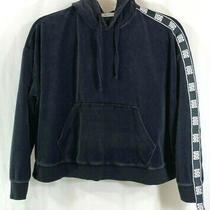 Ugg Black & White Iris Track Jacket Hoodie Velour Velvet Spell Out Logo Size L Photo