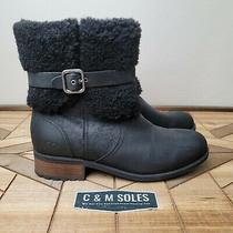 Ugg Blayre Ii Boots Ankle Booties Sz 10 Suede Leather Shearling Winter Black Photo