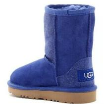 Ugg Blue Glitter Classic Short Serein Sheepskin Fur Boots Youth Girls 10 New Photo