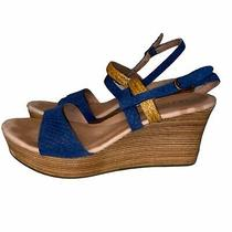 Ugg Blue Tan Strapy Wedge Sandals Size 7.5  Photo