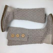 Ugg Boots Cardy Knit Lattice 3 Button Sweater Winter Snow Boots Size 8 Photo