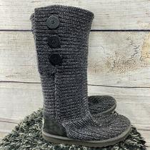 Ugg Boots Gray Cardy Knit Lattice 3 Button Winter Snow Boots Sz 7.5 (B) Photo
