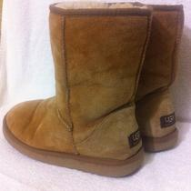 Ugg Boots Sz 8 M Mid Calf Classic Short Light Brown Sheepskin Photo