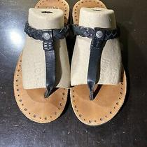 Ugg Bria Braided Thong Black Leather Sandals 1004109 Women Size 6 Photo