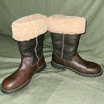 Ugg Brooks Tall Boots 5490 Womens Size 11 Brown Leather Shearling Lined Winter Photo