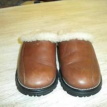Ugg Brown Leather Mules With Shearling 5 M Photo