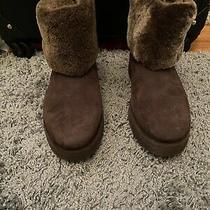 Ugg Brown Mini Berge Shearling Cuff Boots Sz 7 Brand New Photo