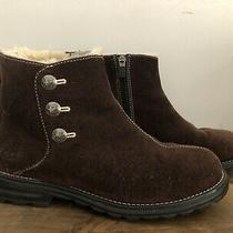 Ugg Brown Suede Sheepskin Lined Zipper Ankle Boots Women's Size 8 Photo