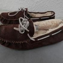 Ugg Brown Warm Sheepskin Leather  Women Slippers Shoes Size 8 Photo