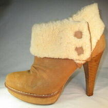 Ugg Camel Real Suede W/cream Sheepskin Hi-Heel Side-Zip Platform Ankle Boots 10m Photo