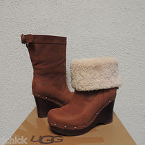 Ugg Carnagie Chocolate Leather/ Sheepskin Wedge Clog Boots Us 6/ 37/ Uk 4.5 Nib Photo