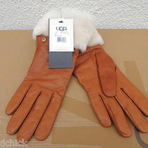 Ugg Chestnut Long Shearling Cuff Leather/ Cashmere Gloves Small  Nwt Photo