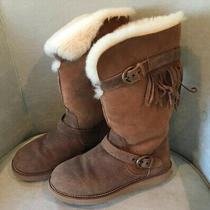 Ugg Chestnut Tan Suede Mid-Calf Boots Double Buckle & Fringe Sheepskin Lined Photo