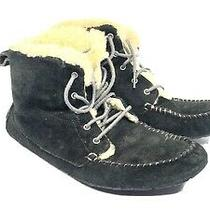Ugg Chickaree Moccasin Boot Black Suede Fur Lined Lace Up Us 7 Uk 5.5 Eu 38  Photo